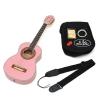 Guitare acoustique de concert 1/4 pour enfants de 4 à 7 ans avec étui matelassé, sangle, jeu de cordes et diapason (Rose)