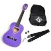 ts-ideen Guitare 1/2 classique acoustique pour enfant à rosace en forme de c?ur avec étui, médiators cordes et sangle (Lilas)