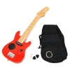 ts-ideen Guitare électrique 1/4 pour enfant de 4 à 8 ans avec enceinte, étui et cordes de rechange (Rouge)