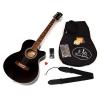 ts-ideen Guitare folk 4/4 acoustique avec étui rembourré, sangle, cordes de rechange et diapason à bouche (Noir)