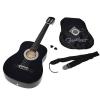 ts-ideen Guitare de concert classique acoustique avec étui, cordes de rechange, médiator et sangle (Noir)