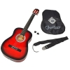 Guitare acoustique de concert avec étui, sangle, jeu de cordes et médiator (Rouge/noir)