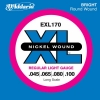 D'Addario EXL170 XL Nickel Wound Jeu de cordes pour basse électrique Tirant Regular Light (.045-.100) (Import Royaume Uni)