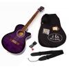 Guitare acoustique Western 4/4 avec étui matelassé, sangle, jeu de cordes de rechange, diapason pour guitare (Violet)
