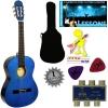 'Stretton Payne' Guitare Acoustique Classique 3/4 Pack – Bleue – Avec Housse et Accordeurs et Mediator