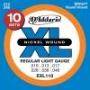 D'Addario EXL110-10P XL Nickel Wound Jeu de cordes pour guitare électrique Tirant Regular Light (.010-.046) Pack de 10 (Import Royaume Uni)