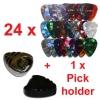 rockpicks – 24 x Mediators pour guitares et basses 3 forces différentes + 1 x Pickholder en noir ou argent