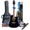 Ashton SPD25CEQBK Guitare électro-acoustique avec accordeur intégré et accessoires (Noir)