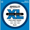 D'Addario EJ21 XL Nickel Wound Jeu de cordes pour guitare électrique Tirant Jazz Light (.012-.052) (Import Royaume Uni)