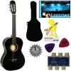 'Stretton Payne' Guitare Acoustique Classique 3/4 Pack – Noire – Avec Housse et Accordeurs et Mediator