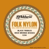 D'Addario EJ34 Folk Nylon Normal Jeu de cordes pour guitare folk Tirant .028-.045 (Import Royaume Uni)