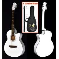 ts-ideen Guitare acoustique folk design avec étui rembourré, sangle, cordes et rechange et diapason à bouche (Blanc)