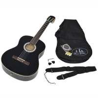 ts-ideen 5273 Guitare de concert 4/4 acoustique classique noire avec étui et accessoires (cordes, médiator et sangle)