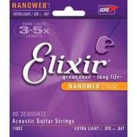 Elixir – Cordes pour les guitares folk, acoustiques et électro acoustiques NANOWEB ACOUSTIC 10/47 XL _ 11002