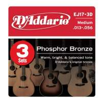 D'Addario EJ17-3D Phosphor Bronze Jeu de cordes pour guitare acoustique Tirant medium .013-.056 Pack de 3 (Import Royaume Uni)