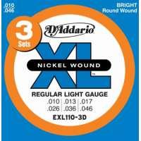 D'Addario – EXL110-3D – XL Nickel Wound – Jeu de cordes pour guitare électrique – Tirant Regular Light (.010-.046) – Pack de 3 (Import Royaume Uni)
