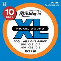 D'Addario EXL110-10P XL Nickel Wound Jeu de cordes pour guitare électrique Tirant Regular Light (.010-.046) Pack de 10 (Import Royaume Uni)