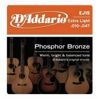 D'Addario – Cordes pour les guitares folk, acoustiques et électro acoustiques EJ15 – Jeu acoustique Phosphor bronze 10-47