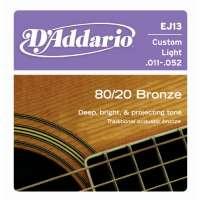DAddario EJ 80/20 Bronze Acoustic Guitar Strings (EJ10/EJ11/EJ12/EJ13/EJ14)EJ13 11-52