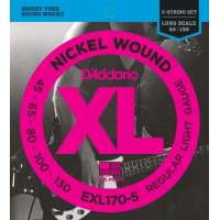 D'Addario EXL170-5 XL Nickel Wound Jeu de cordes pour basse électrique Tirant Regular Light (.045-.130) (Import Royaume Uni)