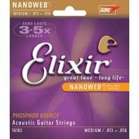 Elixir Phosphor Bronze Nanoweb Acoustic Guitar Strings13-56 Medium