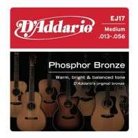 D'Addario EJ17 Phosphor Bronze Jeu de cordes pour guitare acoustique Tirant medium .013-.056 (Import Royaume Uni)