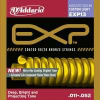 D'Addario EXP13 EXP Coated 80/20 Bronze Jeu de cordes pour guitare acoustique Tirant Custom Light (.011-.053) (Import Royaume Uni)
