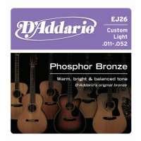 D'Addario EJ26 Phosphor Bronze Jeu de cordes pour guitare acoustique Tirant custom light .011-.052 (Import Royaume Uni)