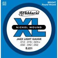 D'Addario EJ21 XL Nickel Wound Jeu de cordes pour guitare électrique Tirant Jazz Light (.012-.052) (Import Royaume Uni)