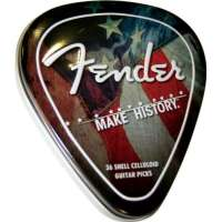 Fender Classic Celluloid Boîte Metal 36 Médiators Make History Pick Tin