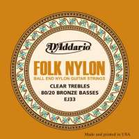 D'Addario EJ33 Folk Nylon Jeu de cordes pour guitare folk Tirant normal (.028-.045) (Import Royaume Uni)